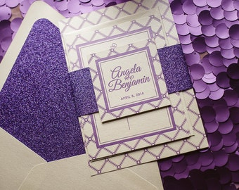 Purple Glitter Wedding Invitation, Purple Glitter Wedding Invite, Lattice Pattern Invitation - Deposit to Get Started