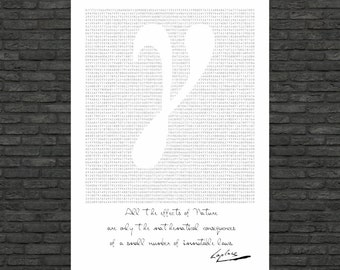 Science art - Mathematics- γ Euler-Mascheroni constant and Laplace's inspirational quote - poster  on paper or canvas up to A0 size