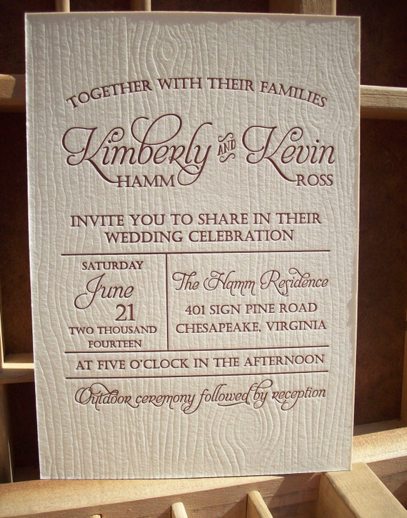 Items Similar To Wood Grain Letterpress Wedding Invitation Sample Designed And Printed By Expressions Great For Outdoor Rustic On