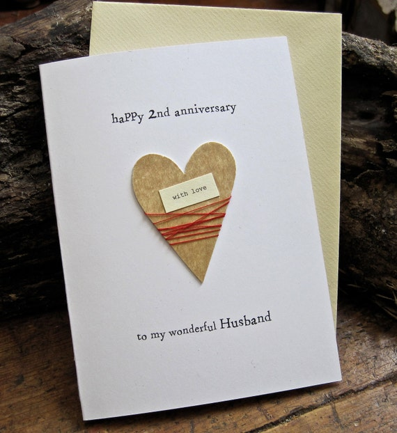 2nd Wedding Anniversary Diy Gifts : 2nd Wedding Anniversary Keepsake Card Cotton Handmade Traditional ...