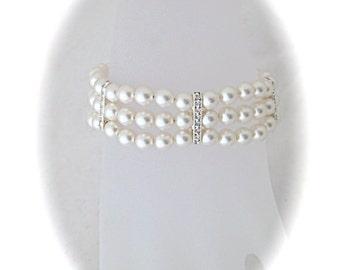 Wedding jewelry bridal bracelet wedding bracelet white Swarovski pearl bridal jewelry bracelet