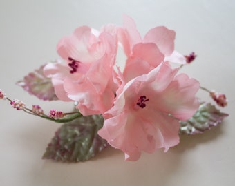Pink Silk Cherry Blossom Wedding Flowers Bridal Headpiece Hair Clip