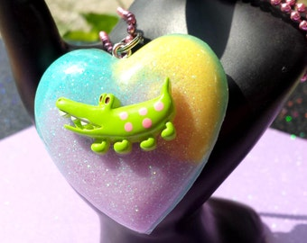 Swamp Family Gator Pendant / Tye Dye Heart Necklace / Alligator Gator Jewelry / So Tropicana / Pastel Glitter Ombre / Sippy Sippy / So Sassy