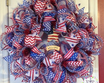 Patriotic  July 4th Deco Mesh Wreath