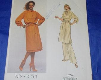 Vogue 1708 Nina Ricci Sewing Pattern size 10 Vintage 70s Uncut OOP