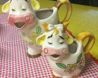 Vintage Japan Cow Milk and Creamer Pitcher