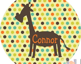 Personalized giraffe and polka dot monogrammed plate.  A custom, fun and UNIQUE birthday gift idea! Kids love eating on personalized plates!