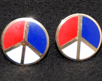 SALE! Peace Symbol Red Blue and White Vintage Cufflinks