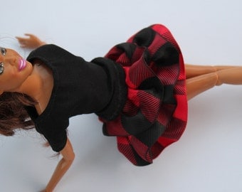 barbie clothes - outfit red and black