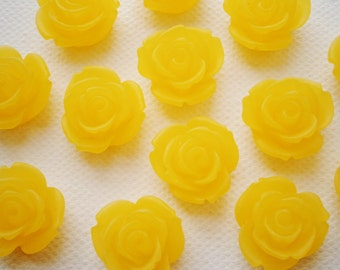 6 Large Frosted Yellow Resin Rose Cabochons.