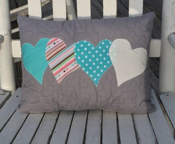 Valentine's pillow, Heart pillow, decorative pillow, quilted pillow