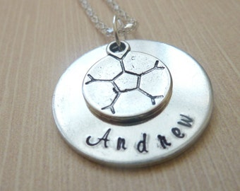 Personalized Soccer Necklace Hand stamped soccer custom necklace sports