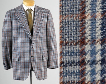 Mens Vintage 70s Blue Orange Plaid Chunky Tweed Two Button Jacket Blazer Sportcoat 44