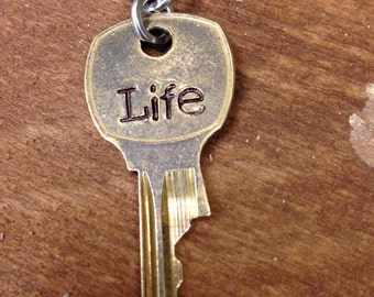 Key to Life Pendant hand stamped upcycled key