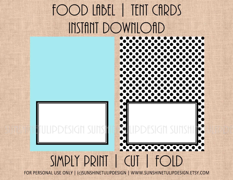 Printable blank table tent cards printable food buffet for Printable tent card