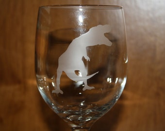Etched T-Rex Dinosaur Glass