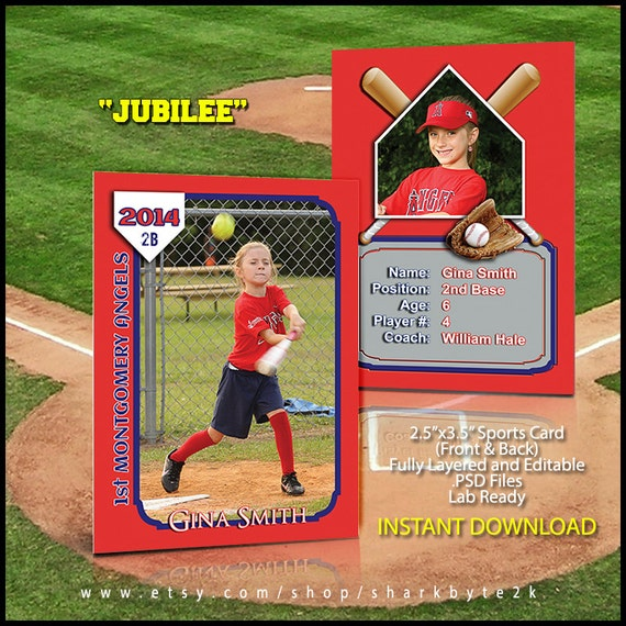 2017 Baseball Sports Trader Card Template For Photoshop JUBILEE