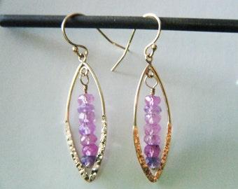 Sapphire earrings Pink sapphire gold fill earrings Precious gemstone earrings 14k gold filled dangle earrings September birthstone