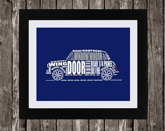 Classic Mini Cooper Automotive Printable Art, Typographic Car, Parts of a Car, Car Part Names, Navy Blue, White, Typography, 14 x 11""
