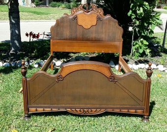BED, Antique 1920s Vintage Serpentine Wood Raised Intricate Bedroom Full Double Painted Headboard Bedframe FREE local delivery (see details)
