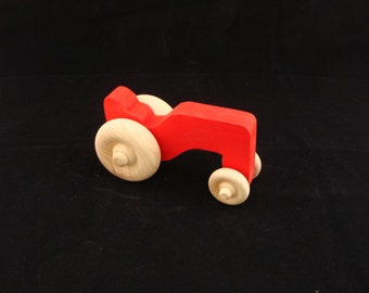 Handmade Wooden Tractor Red