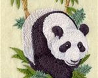 6 pc SET  BATh towels Embroidered Oriental Panda - peace