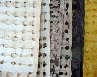 handmade bark amate paper set mixed media, collage 8x8, 5 sheets total