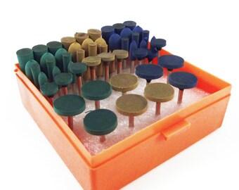 54pc Rubber Abrasive Rotary Bit Set Polishing Bits Various Grits Dremel Tool
