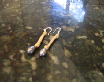 leather earrings pearl earrings indian leather fresh water pearl earrings