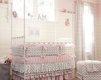 Girl Baby Crib Bedding: Pink and Gray Chevron 4-Piece Crib Bedding Set by Carousel Designs
