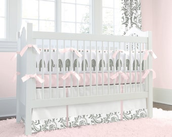 Girl Baby Crib Bedding: Pink and Gray Elephants Crib Bedding - Fabric Swatches Only