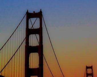 Golden Gate Bridge dramatic sunset sky. Modern or Bohemian decor.