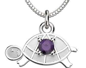 Birthstones Turtle February Amethyst Pendant with 18' Necklace