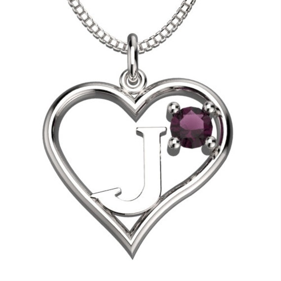 BirthStone Heart Letter J Sterling Silver by SycadaLeather