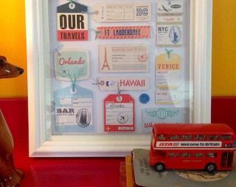 Framed Personalised Vintage Travel Luggage Tags