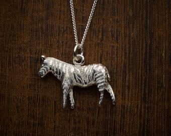 Sterling silver zebra pendant