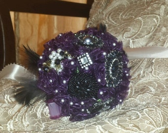 Wedding Bouquet - Purple with handmade flowers and antique jewlery.