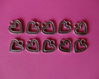 10 Open Heart Antique Silver Blackened Tone Metal Pendant Charms for Jewelry, Crafts and Fashion