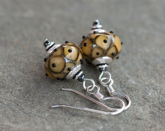 Lampwork Earrings. Lampwork Glass Earrings, Mustard Yellow Artisan Beads, Sterling Silver Earwires. Dangly Earrings. Mustard Yellow Earrings