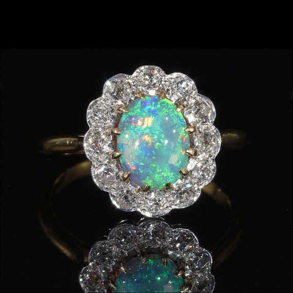 Antique Blue Opal And Diamond Cluster Ring European C 1910