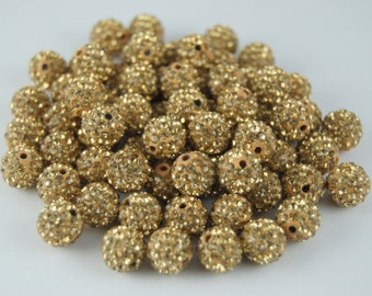 20 pcs 8mm Polymer Clay with Light gold Rhinestone Loose Bead Pave Disco Crystal Ball Beads Spacer Findings