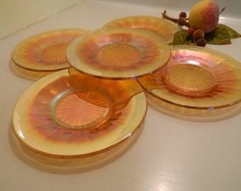 Set of 5 Vintage Marigold Carnival Glass Dessert Salad Plates