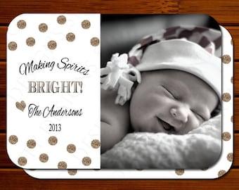 Holiday Photo Card with Glitter Polka Dots - Modern, Gold, Christmas, Printable, Digital