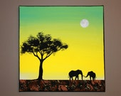 Original Abstract Acrylic Painting Canvas Tembo African Elephants Tree Branch Silhouette Sunset Ombre Yellow Turquoise Sky Full Moon