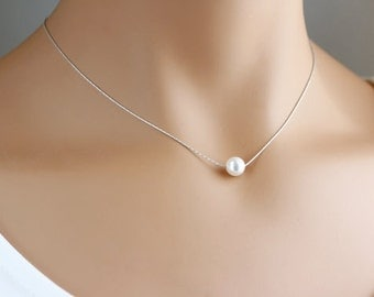 Single Pearl Necklace, Sterling silver, Floating pearl necklace,  Bridesmaids Gift, Bridal Necklace, Wedding jewelry