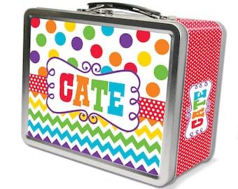 "Rainbow Dots & Chevron ""Retro"" Lunch Box"