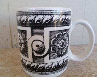 Riviera Van Beers Coffee Mug Cup Black Flowers