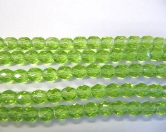 Faceted 6mm Round Beads Fire Polished Glass Beads, Green, Czech Glass, 25 beads, Choose One or Two Strands, Peridot