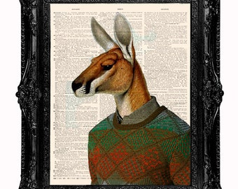 Kangaroo Dictionary art print- Kangaroo in ugly sweater upcycled dictionary page art print 8x10 inch. Buy any 3 prints get 1 free!