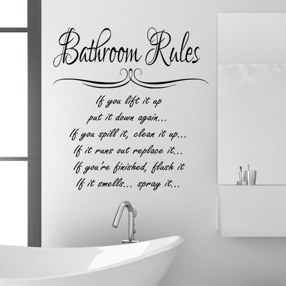 Bathroom rules wall sticker quote funny vinyl decal graphic for Bathroom quotes svg